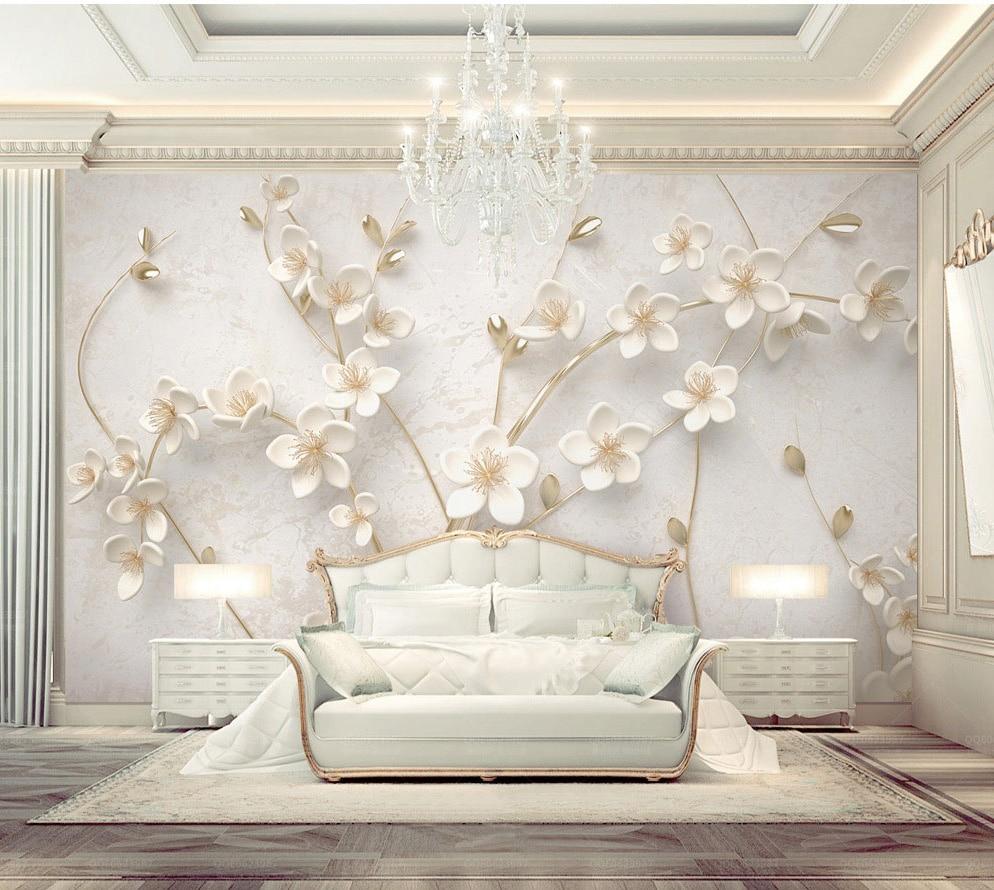 Carta Da Parati Texture us $18.0 |bacaz custom 8d rilievo texture bianco fiore murale carta da  parati per pareti camera da letto 3d carte da parati del fiore 3d della