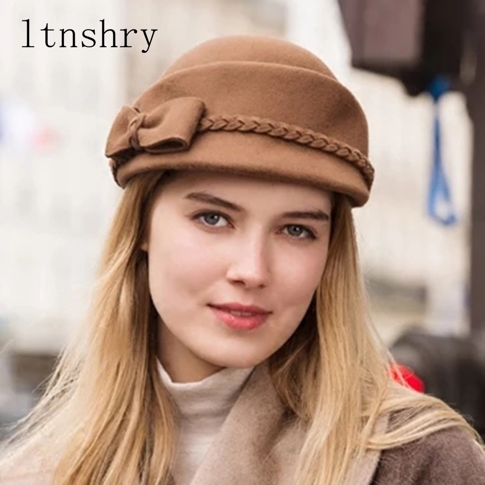 New Women Wool Felt Fedoras Soild Nice Bow Adorn Round Top Women Pillbox Hats Autumn Winter Beret Stewardess Cap in Black Wine