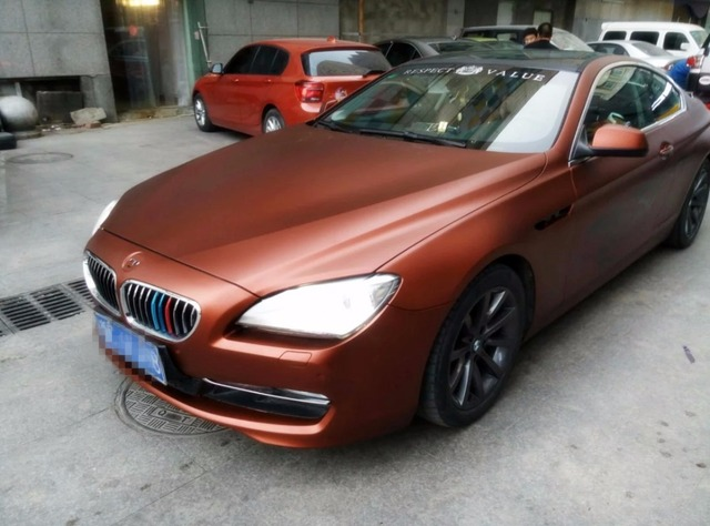 Coffee Matte Chrome Car Wrapping Film With Air Channels