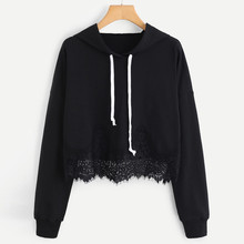 Hoodies Women Lace solid Long Sleeve White Black Hoodie 2019 Sweatshirts Short White Pullover Long Tops Shirt busos TT