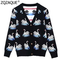 Luxury Vintage Court Style V neck Cardigans For Women 2018 Fall Winter Thick Knitwear Swans Jacquard Single Breasted Tops SY1813