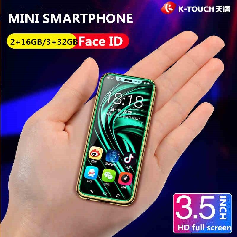 Caso grátis Protetor de Tela Super Mini 4G SmartPhone K-TOUCH I9 Face ID Metal Frame Android 8.1 Telefone Dual SIM telefone móvel