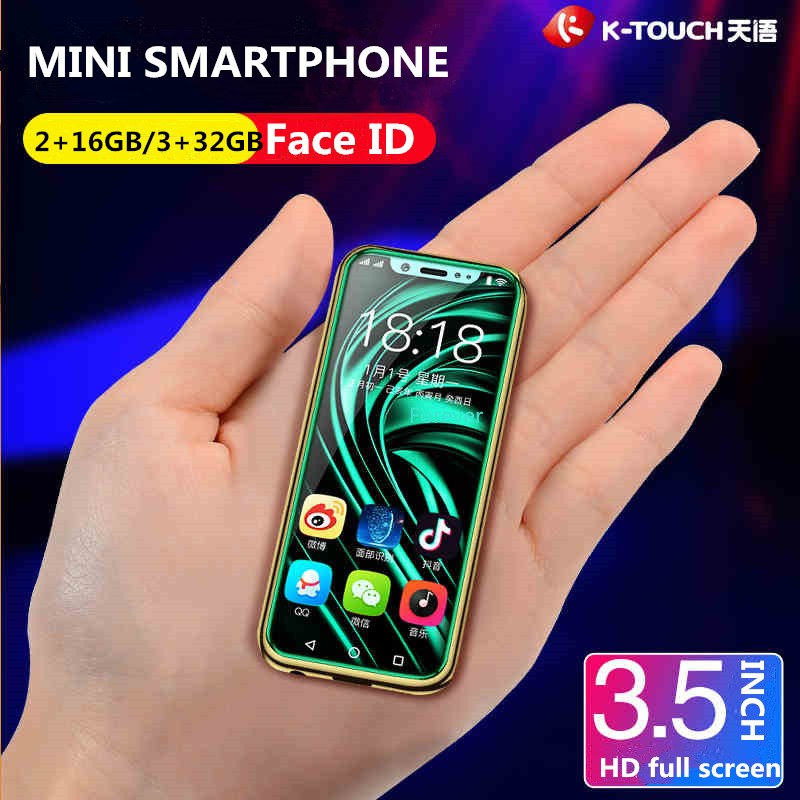 Freies Fall Screen Protector Super Mini 4G SmartPhone K-TOUCH I9 Gesicht ID Metall Rahmen Android 8.1 Telefone Dual SIM Mobile telefon