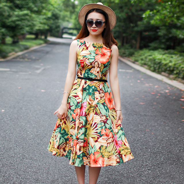 summer women vintage 50s hawaii lady print boat neck sleeveless swing midi  dress plus size 4xl vestidos rockabilly pinup dresses d2f8d58c72a6