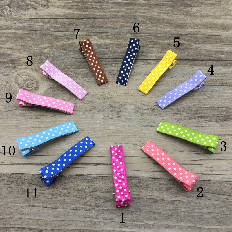 10pcs Set 11color Ribbon Covered barrettes Girl Duckbill Hair Clips For DIY Hair Accessory Ribbon