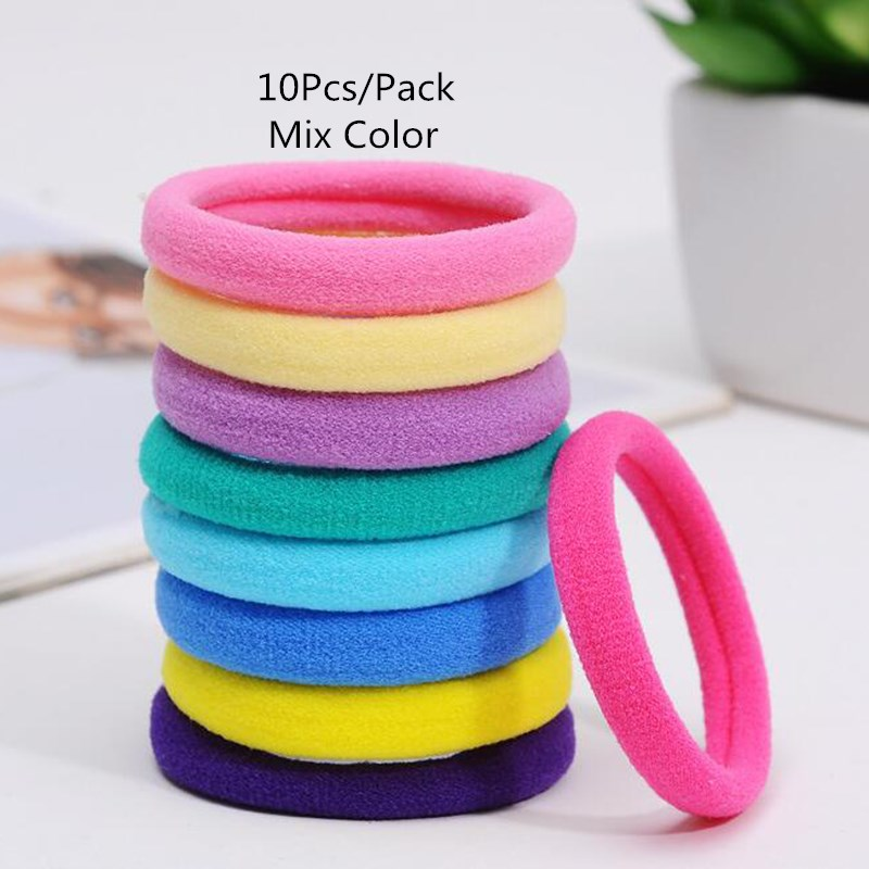 10Pcs/Pack Black Candy Mix Color Hair Holders Elastic Hair Bands Ponytail Rubber Rope Bands Women Girls Hair Accessory Scrunchie 10pcs 55mm enamel black elastic ponytail holders hair accessories for girl women rubber bands tie gum mix style