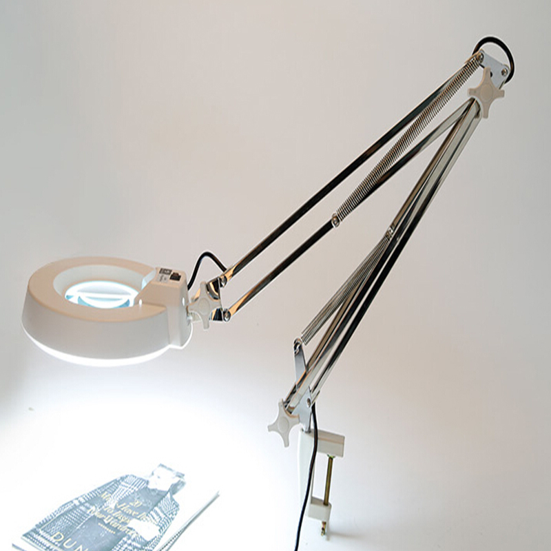 220V 5X 10X Clip Big Magnifying Glass Lamp Magnifier White Cyan Optical Glass Folding Stand for