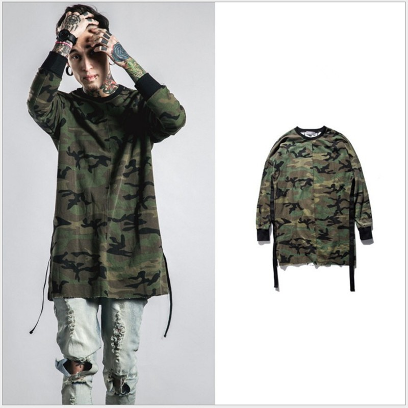 2017 New Camouflage Long Sleeves T Shirt Hip Hop Swag Street Urban Men's Longline High Quality OVERSIZE T Shirt Men Camo Tee