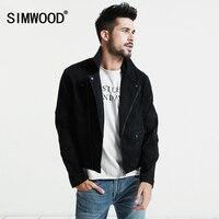 SIMWOOD Black Denim Jacket Men 2017 Autumn New Slim Fit Zippers Short Biker Jackets Fashion Jeans
