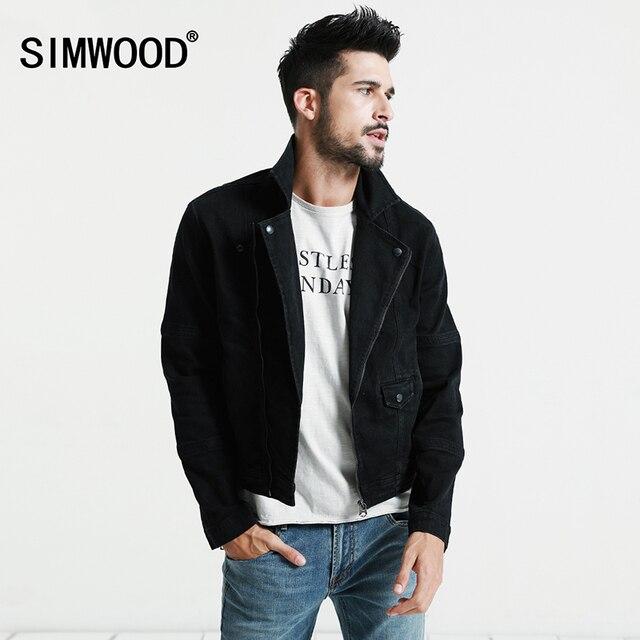 Simwood джинсовая куртка черная Для мужчин 2018 Весна Новые Slim Fit Застёжки-молнии короткие байкерские Куртки модные джинсы Пальто для будущих мам брендовая одежда nj6520