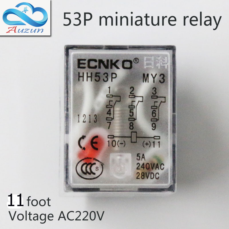 10 pieces hh53P small current relay intermediate relay AC220V 11a foot 5 a3 3closure ECNKO DC24V DC12V 1pc my4nj hh54p intermediate relay ac220v dc24v 12v small my4n j 14 feet magneti