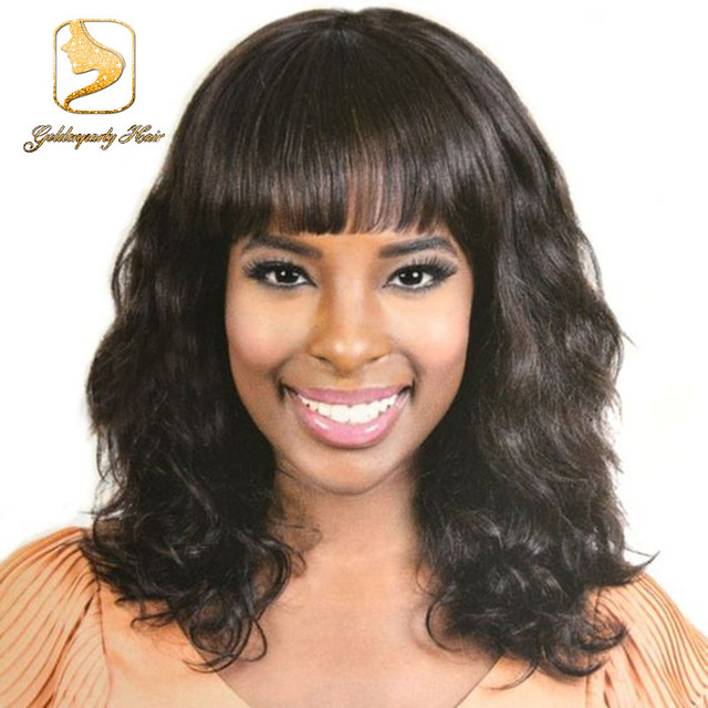 wavy lace front wig with bangs virgin short bob human hair