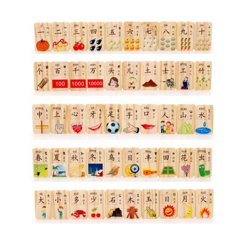 100 Pcs/set Baby Holz Domino Spiel Spielen Spielzeug Chinesischen Charakter Obst Montessori Pädagogisches Spielzeug Schnelle Farbe Domino