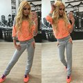 2016 Women's Spring Autumn Fashion Hit Color  Sweatshirts Suits Casual Slim Woman Hedging Sportswear Tracksuits Set HD0040