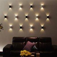 3 واط الحديثة أدى الجدار ضوء الجدار الشمعدانات مصباح 85-265 فولت مكعب الجسم حتى أسفل راحة في ضعف الجانب مصغرة أدى الجدار ضوء