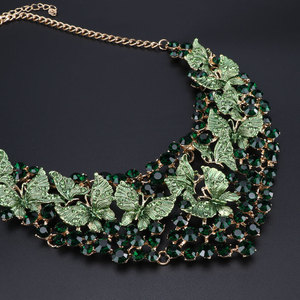 Image 3 - Luxury Green Necklace Earrings Set Butterfly Jewelry Sets for Brides Gift for Women Wedding Party Indian Costume Jewellery