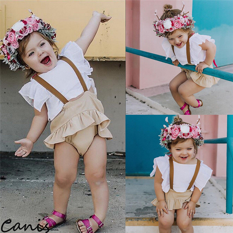 2Pcs Infant Baby Girls Ruffle Tops Overalls Skirts Outfits Set Summer Cute Suit 0-24M