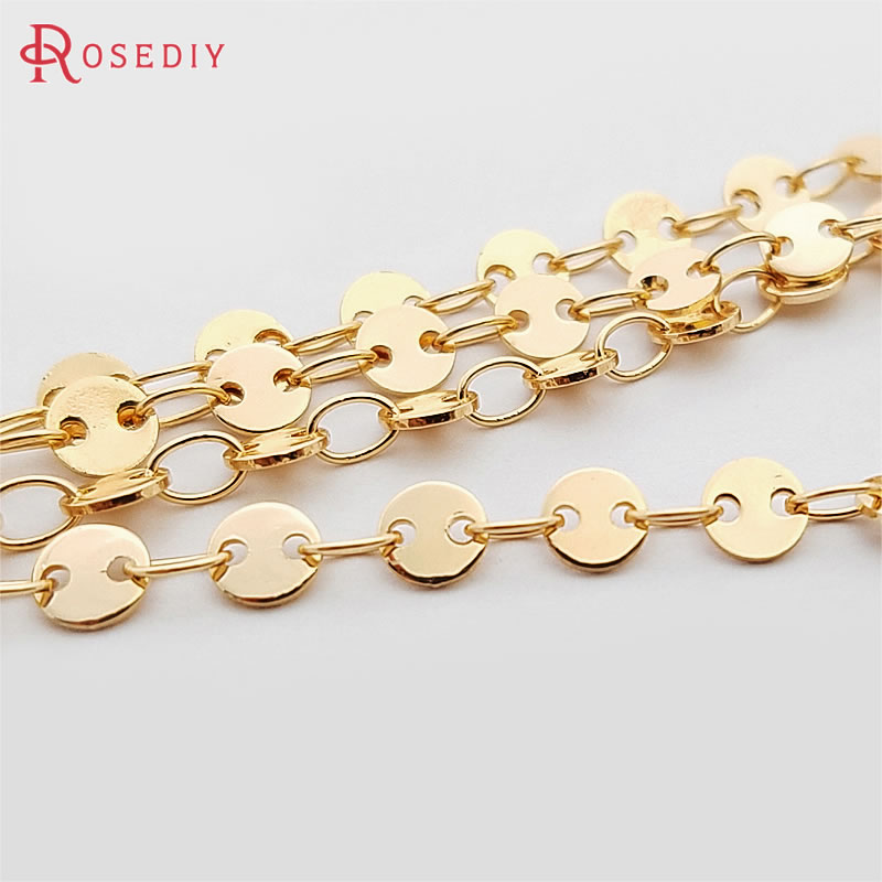 1 Meter Round Disk 4MM 5MM 24K Gold Color Plated Brass Necklace Chains High Quality Diy Jewelry Findings Accessories