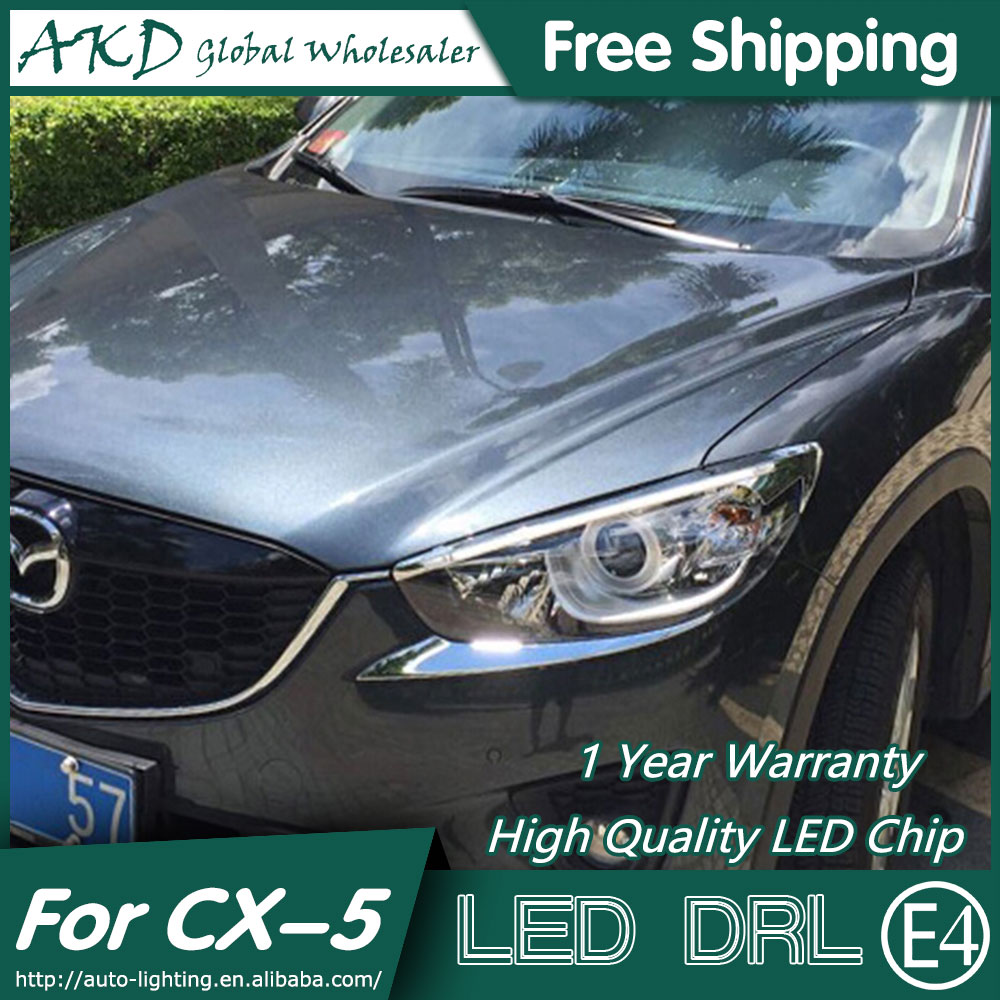 AKD Car Styling LED DRL for Mazda CX-5 2012-2015 CX5 Eye Brow Light LED External Lamp Signal Parking Accessories akd car styling led drl for kia k2 2012 2014 new rio eye brow light led external lamp signal parking accessories