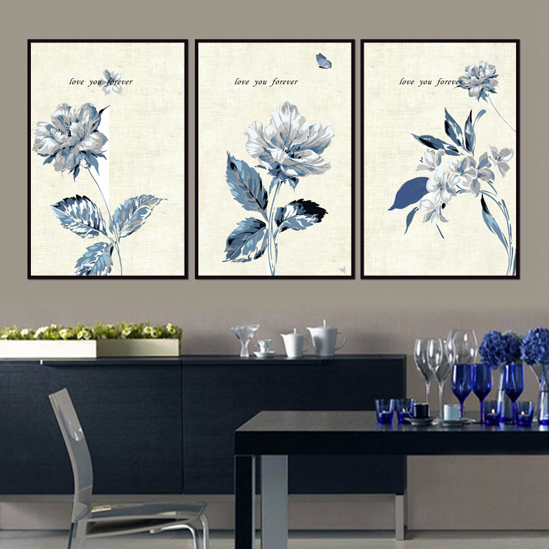 Wholesale New Blue flower series Printings Paintings Wall Art Home Decoration Umframed Canvas Painting For Living Room Bedroom in Painting Calligraphy from Home Garden