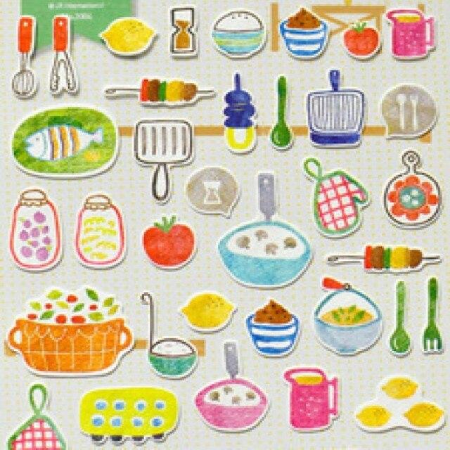 De Dibujos Animados De Cocina Cosas Pegatinas De Papel De