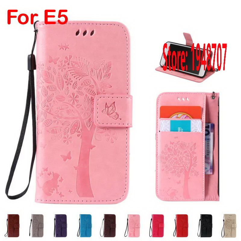 Cheap Butterfly Cat Tree Star Leaf PU Leather Flip Filp Wallet Walet Lady Case fundas etui Cover Bag Cove For Sony Xperia E5