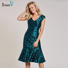 Dressv dark green evening dress giá rẻ không tay v neck trumpet zipper up wedding party formal mermaid appliques evening dresses(China)