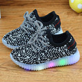 2017 New Children's Shoes Boy Fashion Led Glow Coconut Shoes Girl Leisure Knitting  Mesh Sports Shoes Free Shipping