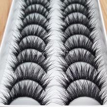 New High-quality Fiber Thick False Eyelashes Handmade Cotton Stems Fake Eyelashes Naturally Smoked Makeup Lashes