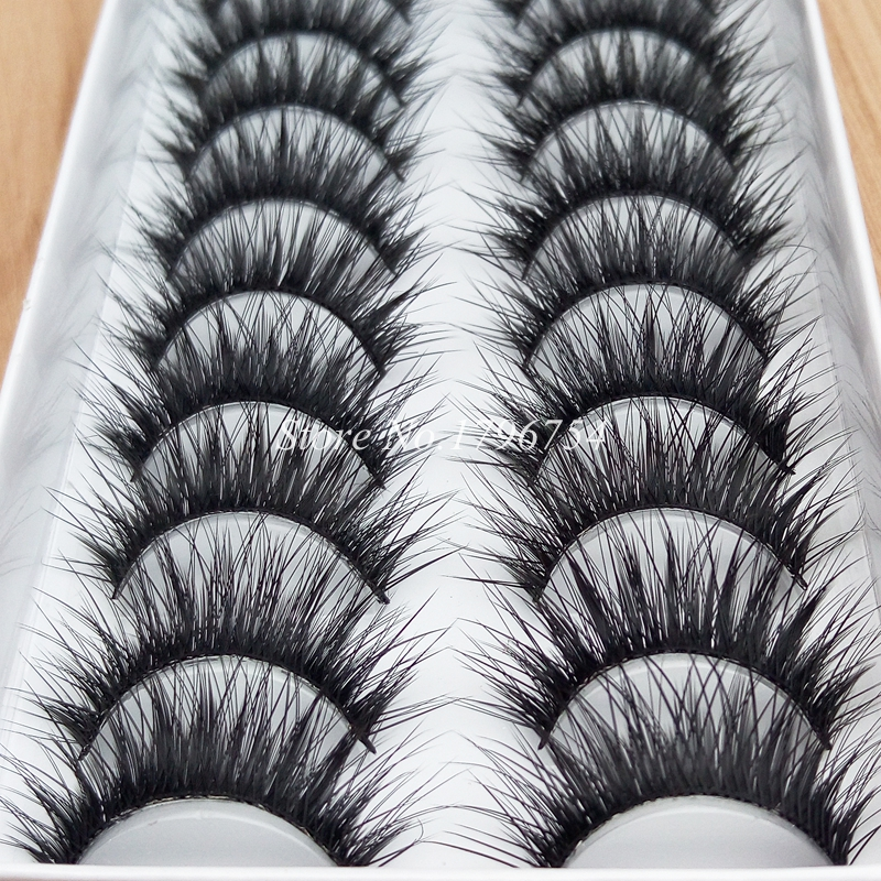 YOKPN New 10 Pairs Fiber Thick False Eyelashes Handmade Cotton Stems Fake Eyelashes Natura