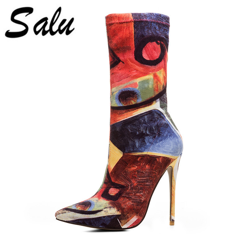 Salu 2018 new womens shoes ankle boots zipper thin high heels genuine leather boots queen autumn winter boots plus size 12 11Salu 2018 new womens shoes ankle boots zipper thin high heels genuine leather boots queen autumn winter boots plus size 12 11