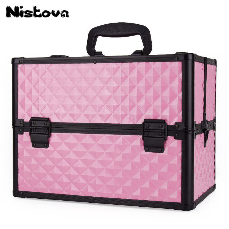 New Professional Aluminum Alloy Cosmetic Case Portable Multi-function Toolbox with Portable Large Capacity Cosmetic Box professional cosmetic bag portable large capacity manicure beauty storage box cosmetic case waterproof lovely the new travel