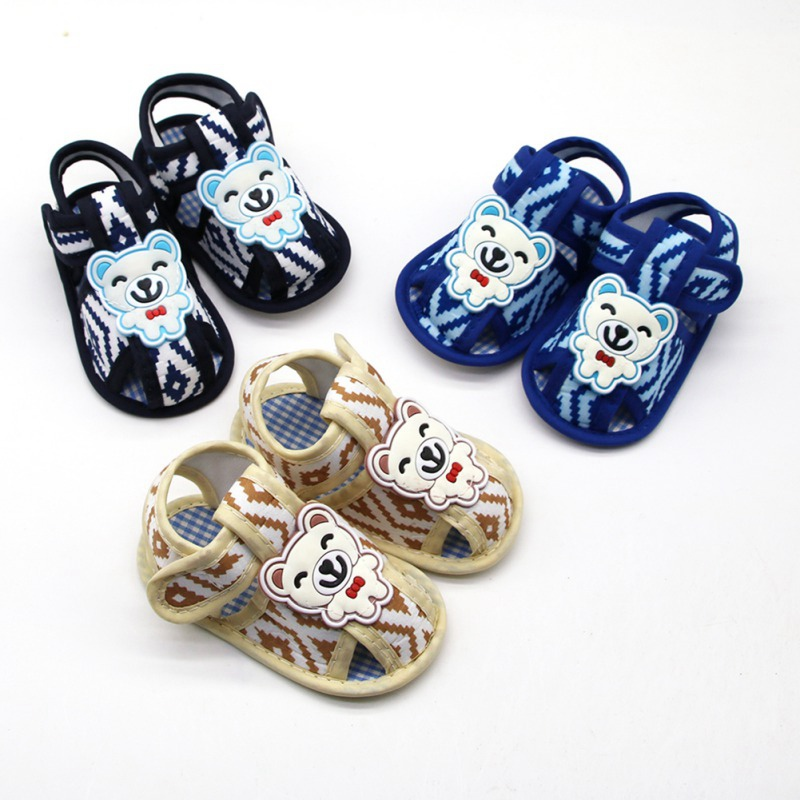 Summer Baby Boy Sandals Gentleman Bear Baby Sandals Rhombic Cotton Soft Bottom Shoes Baby Toddler Shoes