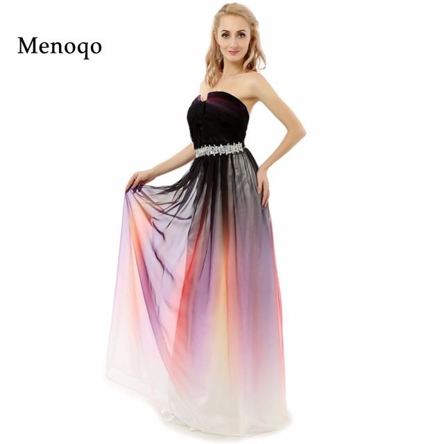 Abendkleider Ombre dress 2018 A line Beaded Strapless Gradient Ombre ...