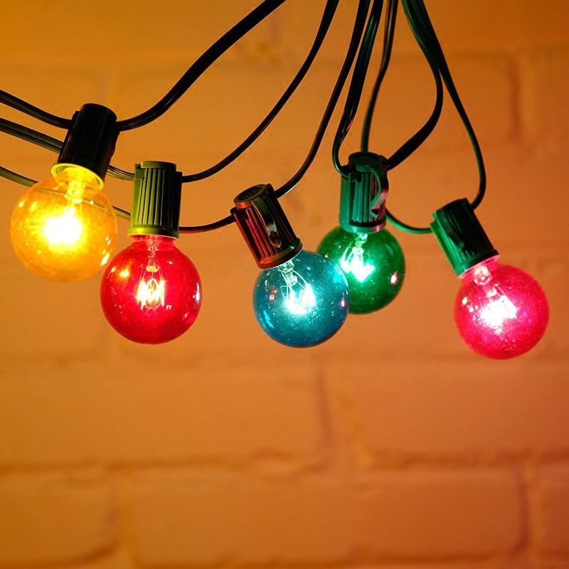 7.5M LED G40 Colorful Bulb Globe String Lights 25pcs Courtyard Waterproof Lamp Glass Light Bulbs Wedding Home Garden Decor