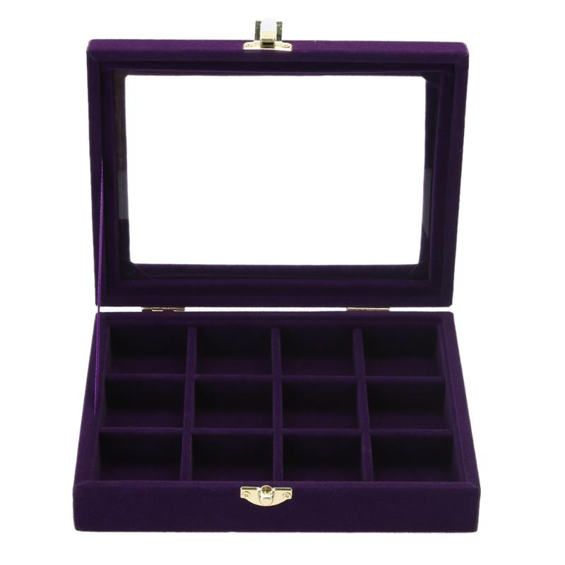 Fashion Velvet Glass Jewelry Display Box Tray Holder Storage Box Organizer