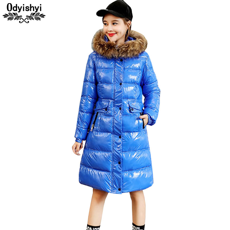 2019 Winter Fashion Bright Face Warm Cotton Coat Female Real Fur collar Long Thicken Down Cotton Jackets Women Hooded Parka H525-in Parkas from Women's Clothing    1