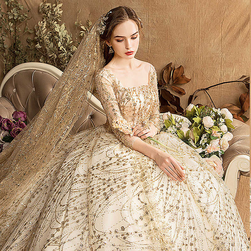 fa82d16a2c074a ... Luxury Wedding Dress Golden Shiny Beaded Crystal Plus Size Robe Mariee  Long Train Dubai Arabic Muslim ...