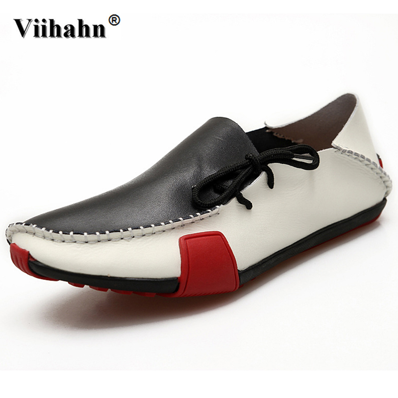 Viihahn Men Leisure Car Driving Shoes Summer Mens Loafers Handmade Genuine Leather Casual Shoes Flats Plus Size 38-46 mvvt brand light weight men s loafers genuine leather casual shoes men plus size men flats driving shoes