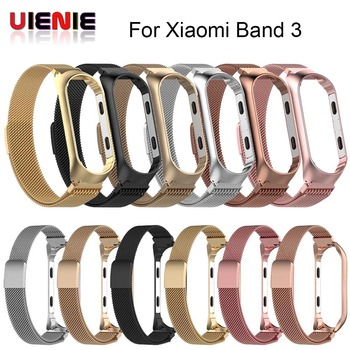 UIENIE Strap Metal Watch Band for Xiaomi Mi Band 3 Bracelet With Protective film For Xiaomi Mi Band 3 Bracelet Milan Wrist Band