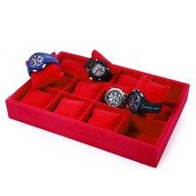 12 Cuadrículas Rojas Acuden Caja de Reloj de Exhibición de La Joyería