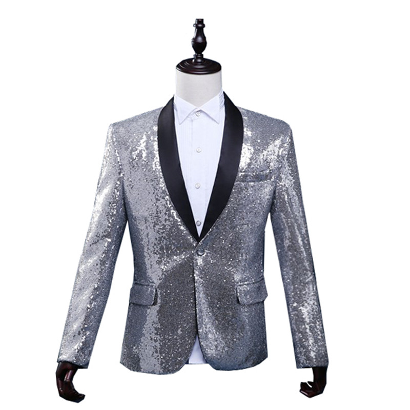 new product 55820 02b2d Silver Sequin Stage Clothing For Men Bomber Jacket Giacca ...