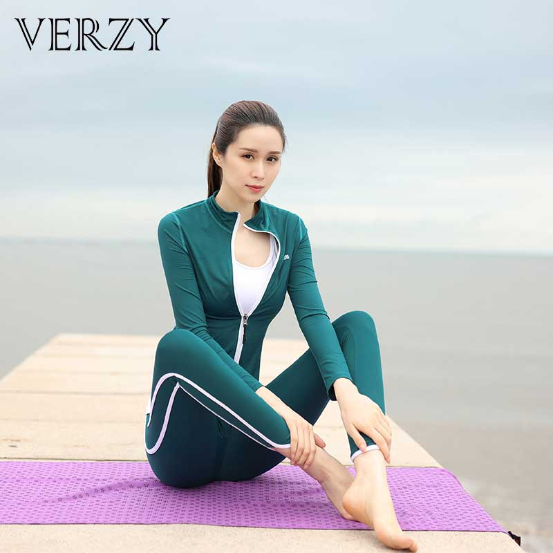 Women 2018 New Running Bicycle Tennis Yoga Fitness 3 Pieces Sports Suit Solid Dark Green Blue Black Jacket Leggings Vest or Bra 2018 new bright gym clothes colors solid and patchwork female summer yoga suit t shirt bra leggings 3 pieces yoga set for women