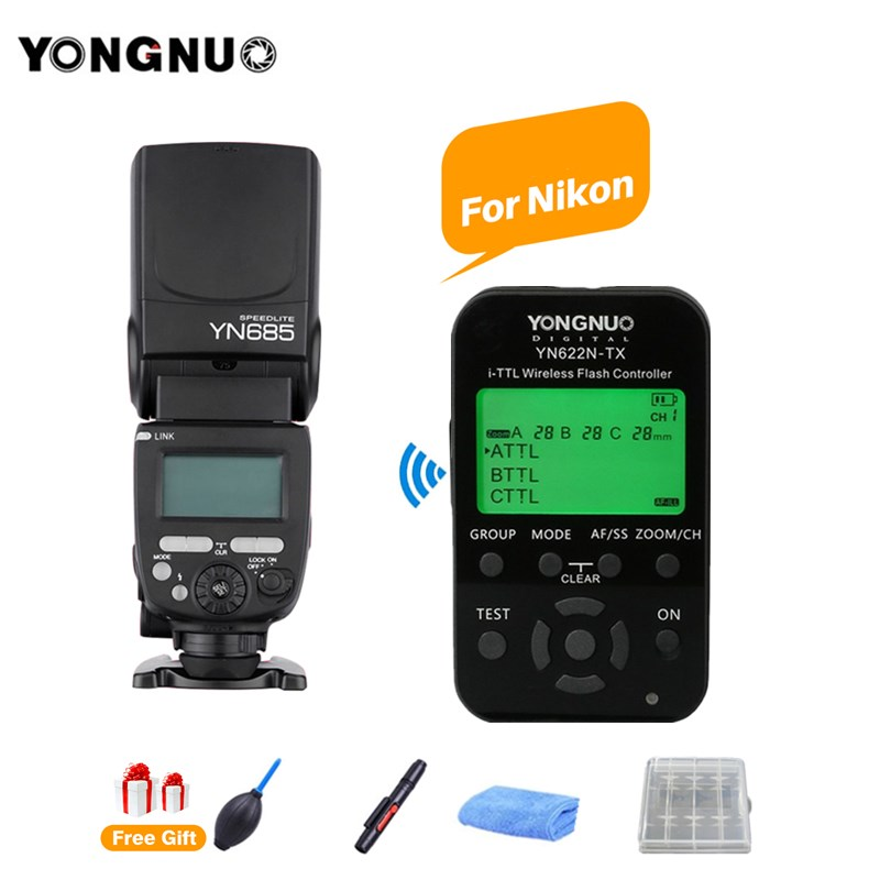 купить YONGNUO YN685N YN685 GN60 Wireless HSS Speedlite TTL Flash Speedlight + YN622N-TX Trigger for Nikon D700 D3100 D300 DSLR Camera по цене 3399.2 рублей