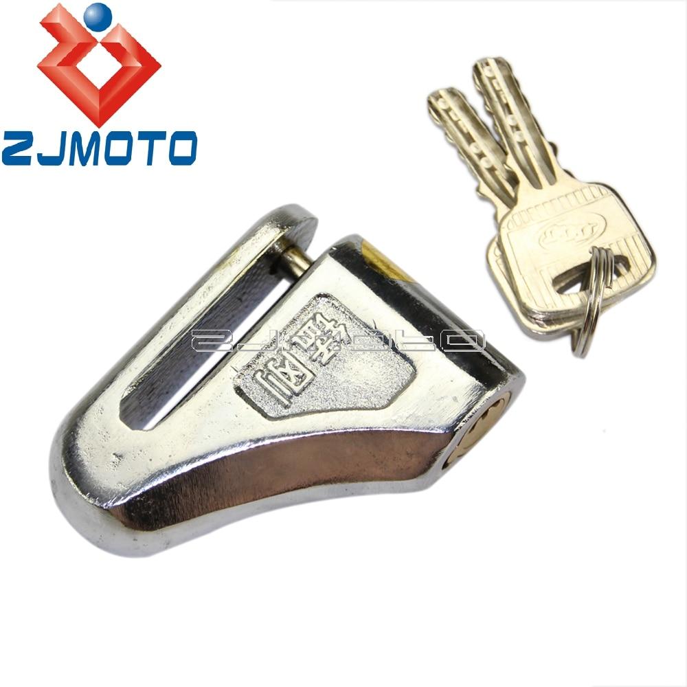 New Chrome 6mm Motorbike Motorcycle Sturdy Wheel Disc Brake Lock Motorcycle Bike Scooter Anti Theft Lock Alarm Disc Lock