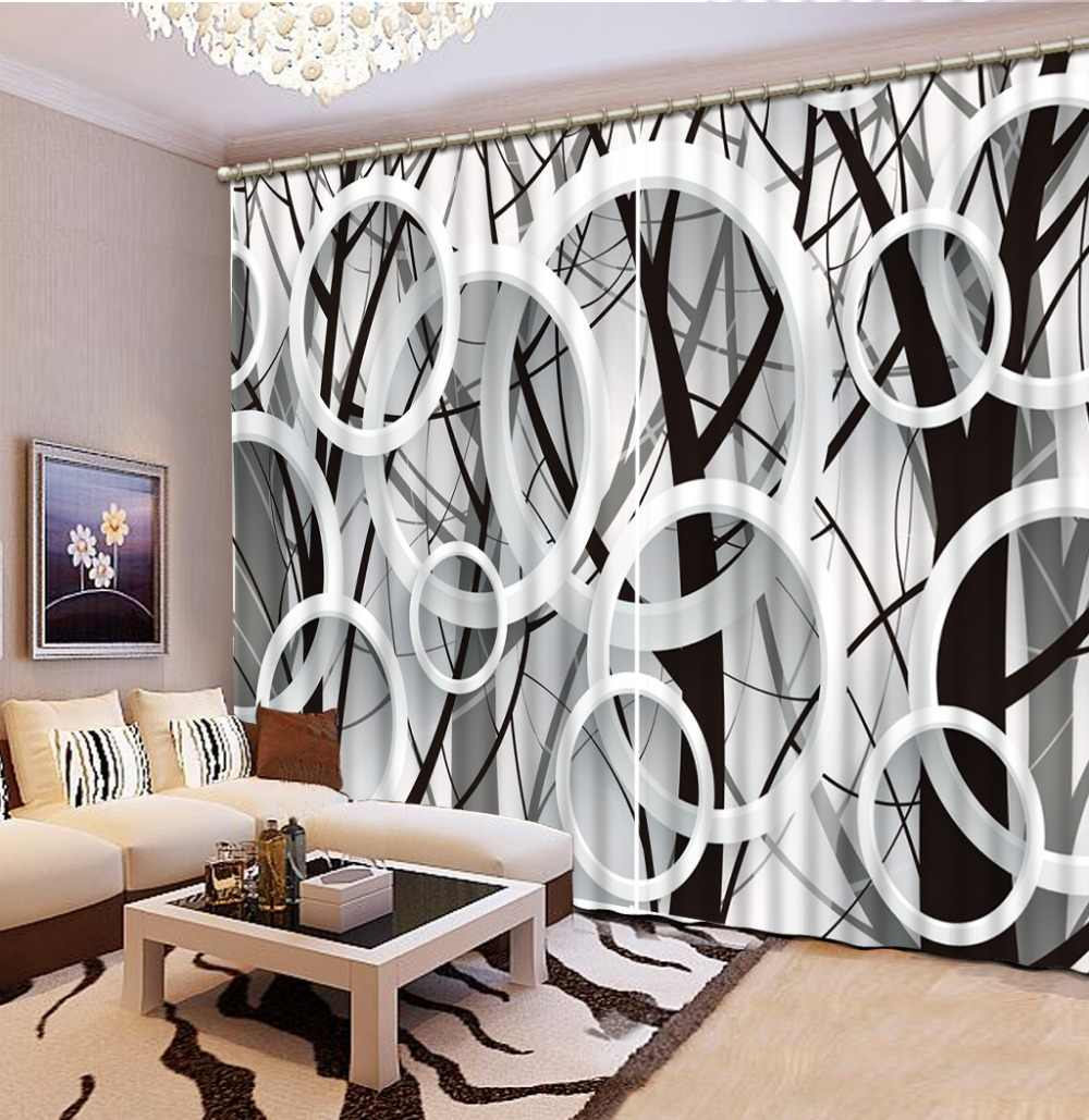 Modern style 3D branches circle Window Curtain black and white 3D Blackout Curtain For Living Room 3D Curtains