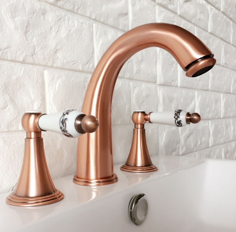 Antique Red Copper Widespread Dual Handle Bathroom Washing Basin Mixer Taps Deck Mounted 3 Holes Lavatory Sink Faucet arg037Antique Red Copper Widespread Dual Handle Bathroom Washing Basin Mixer Taps Deck Mounted 3 Holes Lavatory Sink Faucet arg037