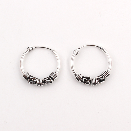 Round earrings Bali silver colour hippy Indian boho gothic ethnic hoop gift