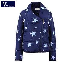 NEW Parkas 2016 star and glasses printing winter jacket women Plus Size 2XL Coats Slim Female Thicken Parka Down Cotton Clothing
