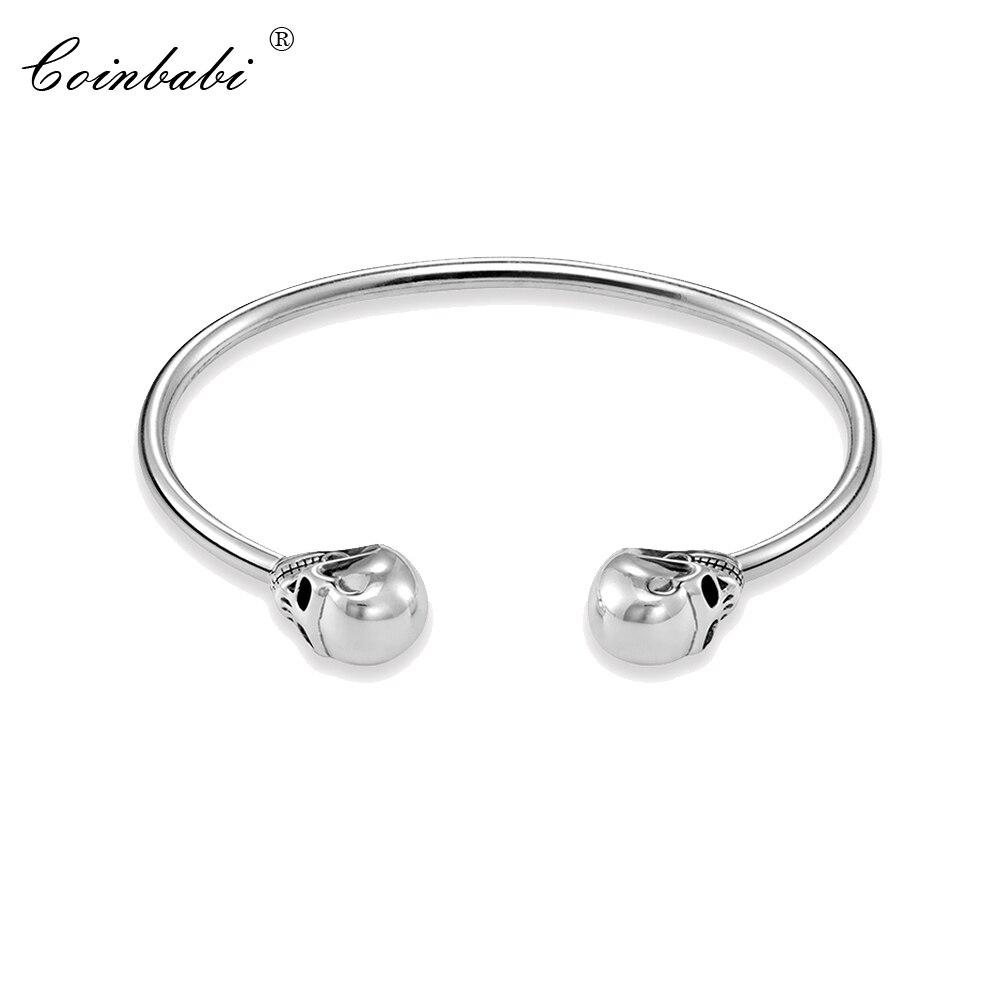 Bracelets Bangles Ts Skull 925 Sterling Silver Fashion Ts Heart Jewelry For Women Thomas Style Rebel Punk Fine Gift